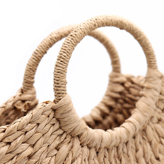 Surell Straw Paper Tote with Round Handle - Hand Woven