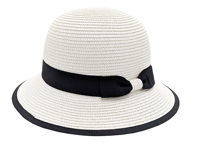 Surell White Straw Paper Hat with Black Bow Detail - Hand Woven