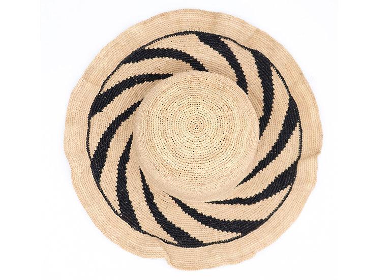 Surell Straw Raffia Hat with Spiral Rim - Hand Woven