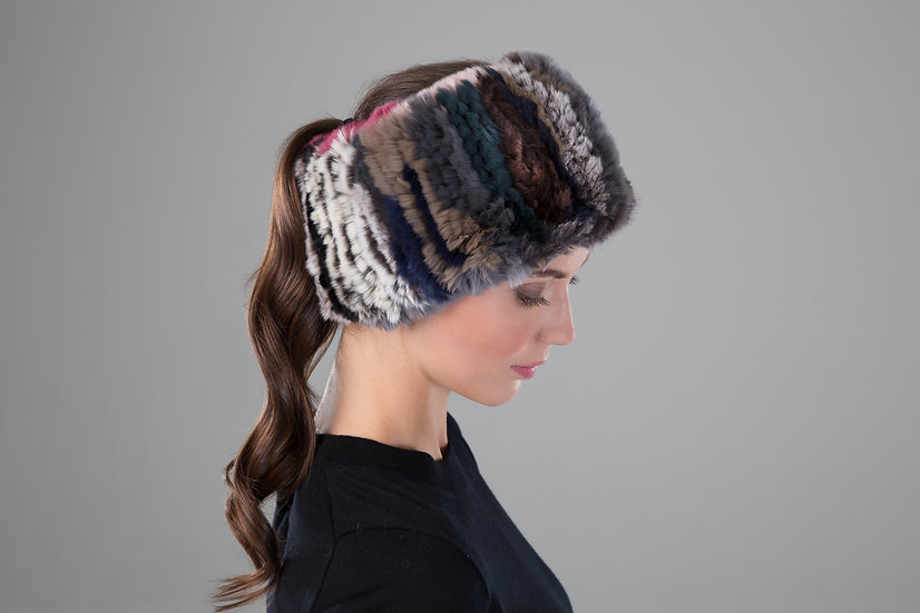 Surell Rex Rabbit Fur Knit Headband/Scarf