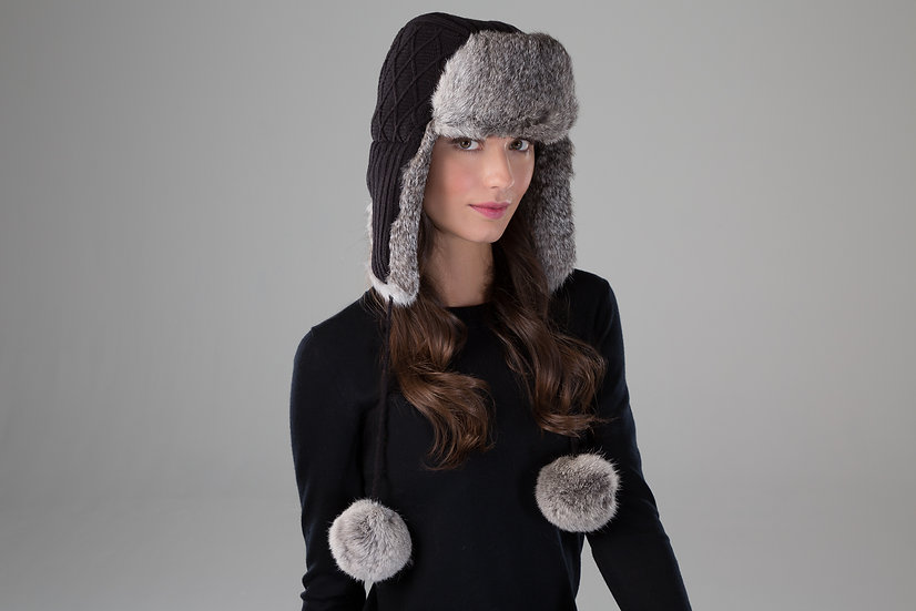 Surell Rabbit Fur Knit Trooper with Poms