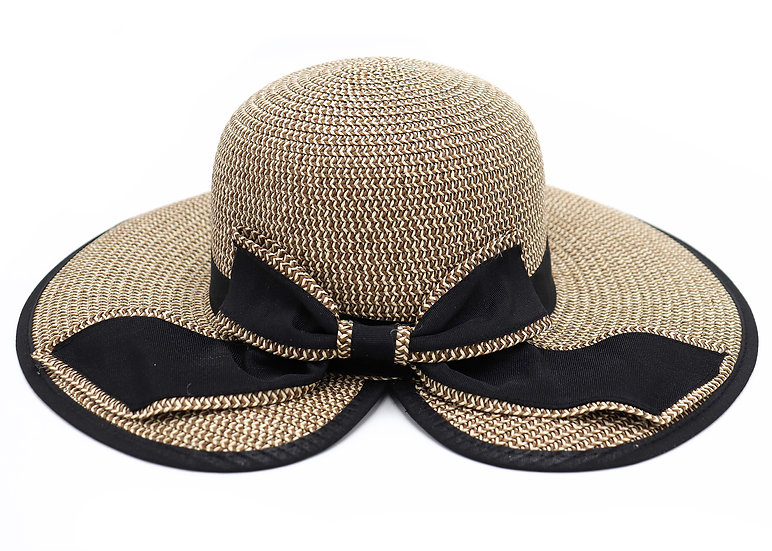 Surell Floppy Straw Paper Hat with Black Bow Detail - Hand Woven
