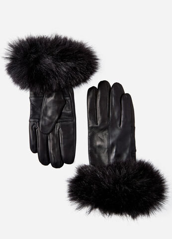 Surell Leather Glove with Rabbit Fur Cuff