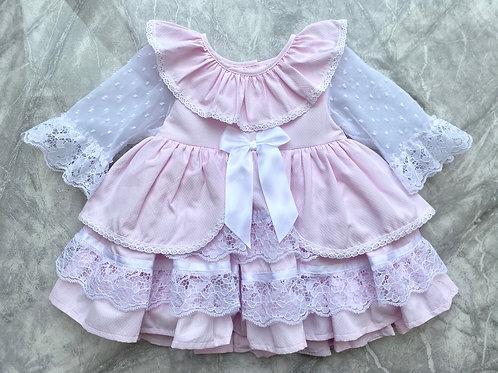 Pink Lace Puff Ball Dress