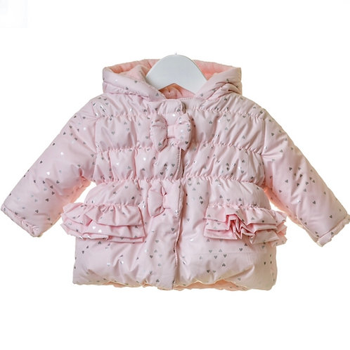 Girls Pink Frill Coat