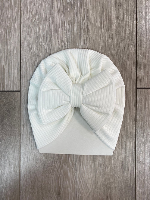 White Bow Front Hat