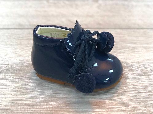 Navy Pom Pom Boots