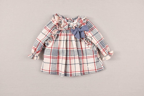 Cocote Check Frill Dress with Navy Bow