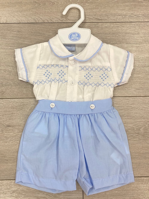 Smocked Button Short Set