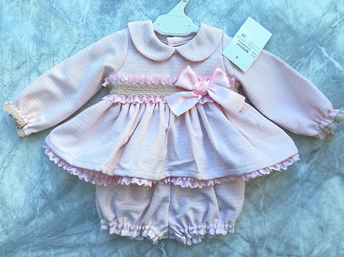 Pink and Tan Bow Dress