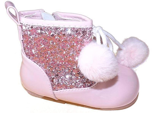 Pink Pom Pom & Glitter Boots