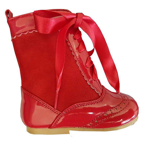 Nina Ribbon Lace Boots In Red