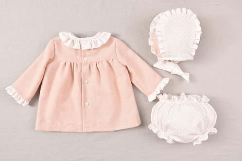 Cocote Pink Frill and Bow Dress Three Piece