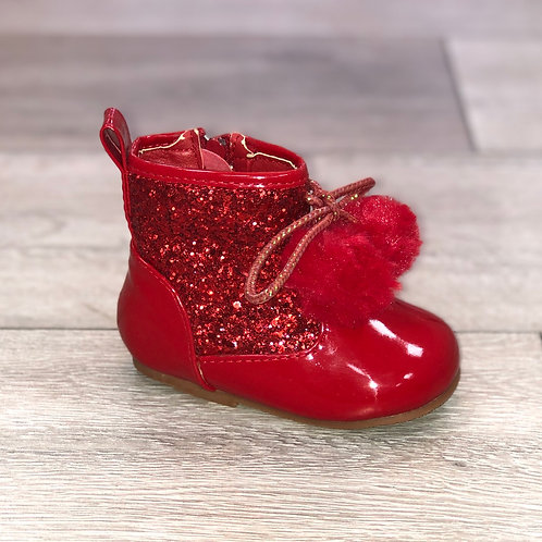 Glitter Pom Pom Boots