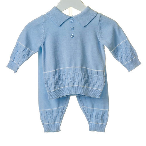 Blue Square Knit Two Piece