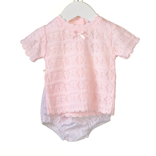 Pink Knit Top Two Piece