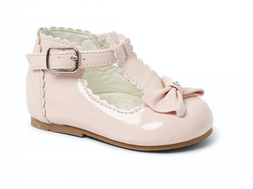 Sally Pink T-bar bow shoes