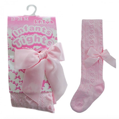 Heart Jacquard Tights With Bow-Pink