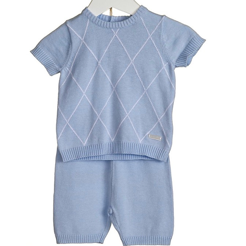Blue Diamond Knit Short Set