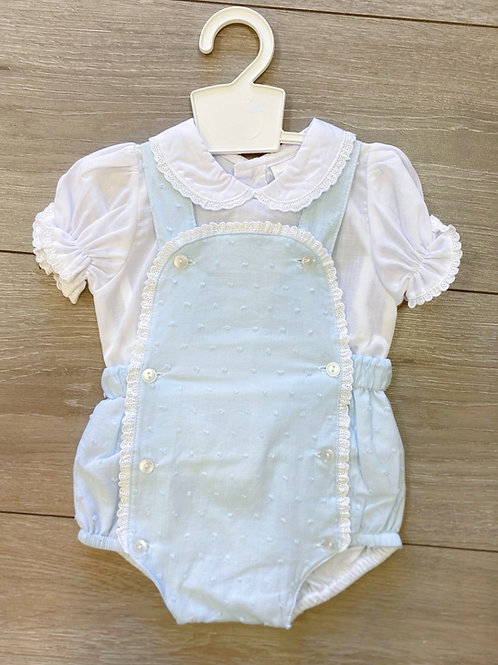 Blue & White Dungaree Set