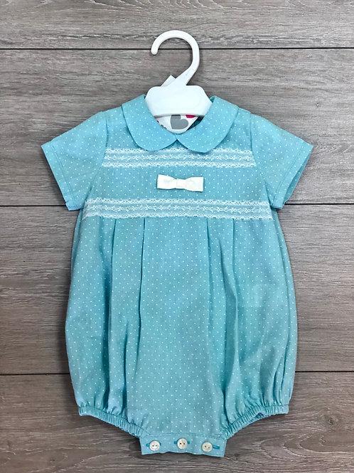 Turquoise Dot Print Bow Romper
