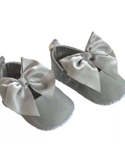 Grey Soft Sole Bow Shoes