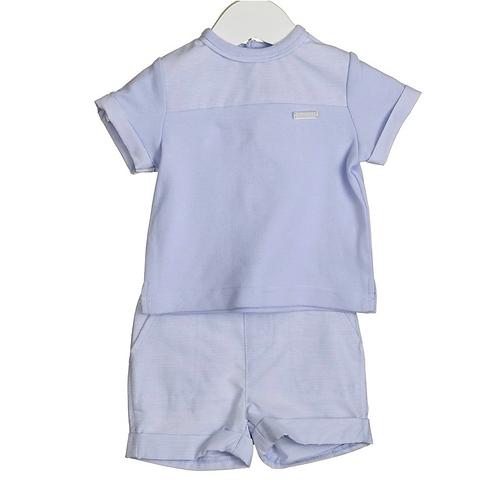 Blue T-shirt & Woven Shorts Set