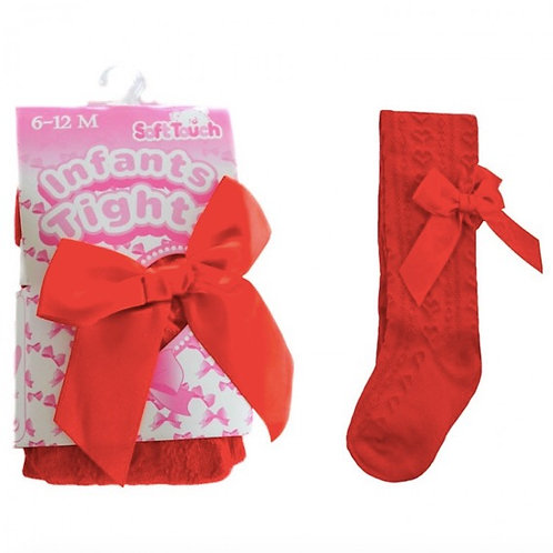 Heart Jacquard Tights With Bow- Red