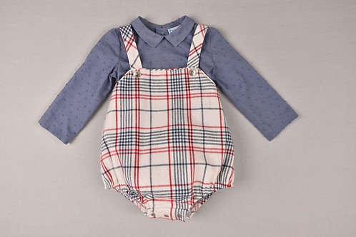 Cocote Check Romper and Navy Shirt