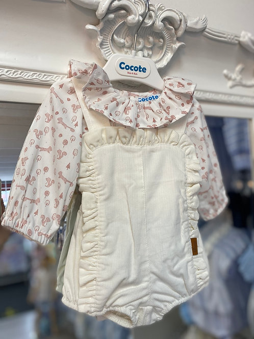 Cocote Cream Romper With Squirrel Print Blouse