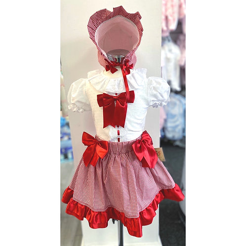 Caramelo Red Bow Three Piece