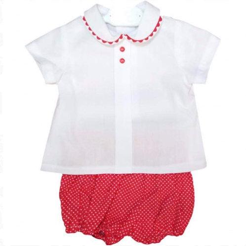 Boys Red & White Short Set