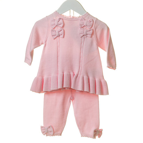 Pink Bow Knit Two Piece