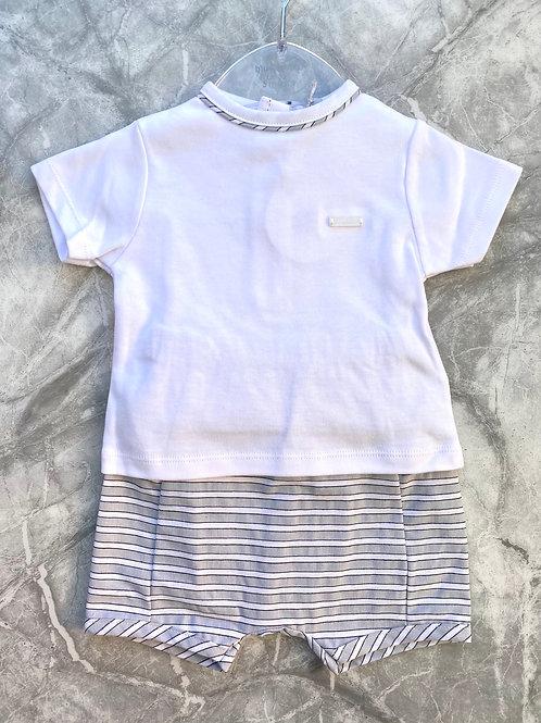 Blues Baby Grey Stripe Short Set