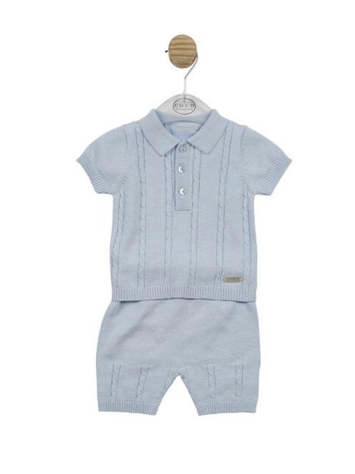 Mintini Blue Cable Knit Short Set