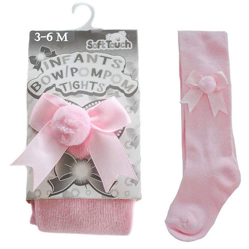 Pink Soft Touch Bow & Pom Pom Tights