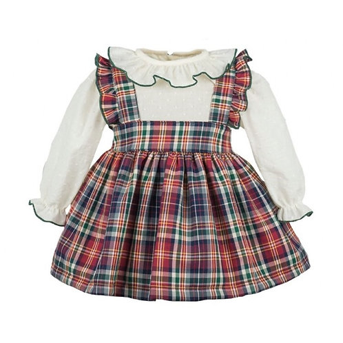 Spanish Pinafore Dress With Frill Neck Blouse