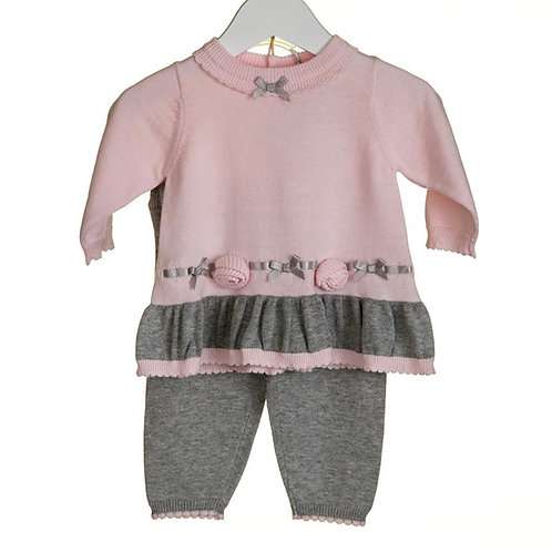 Pink & Grey Knit Two Piece