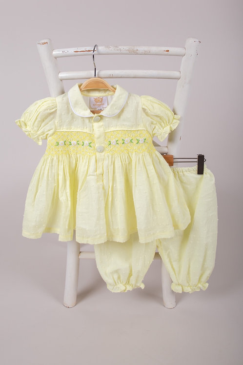 Caramelo Lemon Smocked Dress and Pants