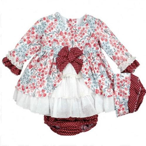 Spanish Floral Dress, Bonnet & Knickers