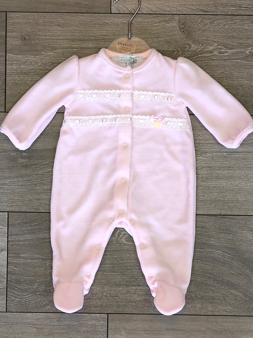 Baby Girl Pink Velour Sleepsuit