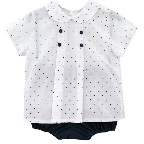 Navy Polka Dot Top & Pants