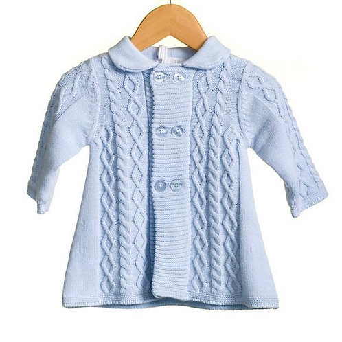Blue Knit Matinee Coat