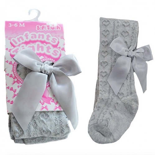 Heart Jacquard Tights With Bow- Grey
