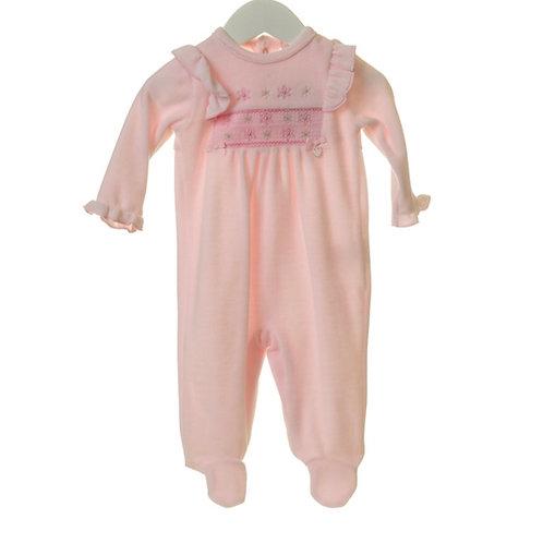 Baby Girl Pink Smock Sleepsuit