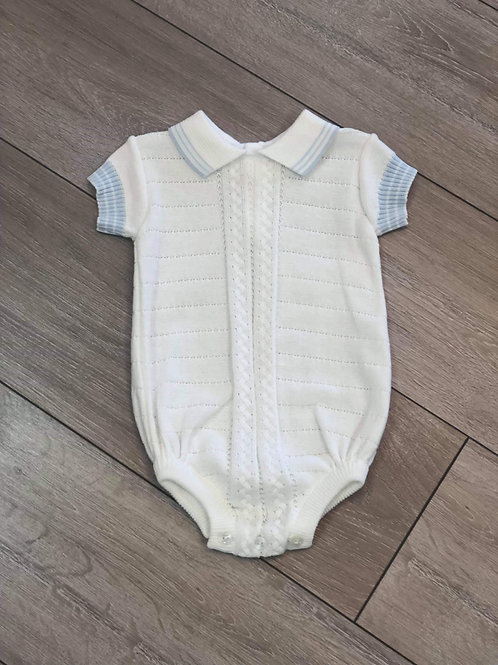 Baby Boy White Knit Romper