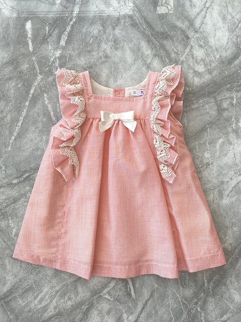 Alber Pink Stripe Frill Dress
