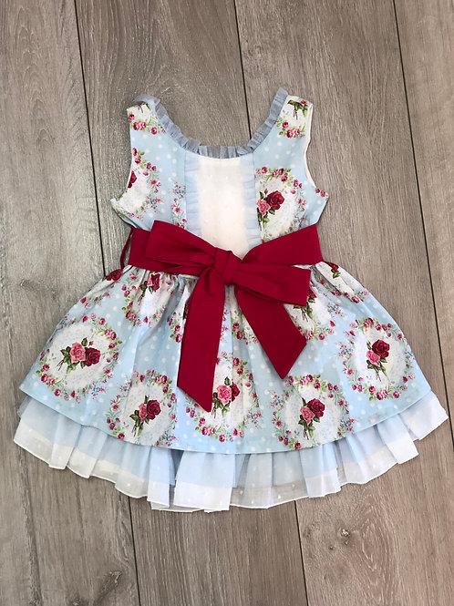 Spanish Girls Blue Rose Bouquet Frill Neck Dress