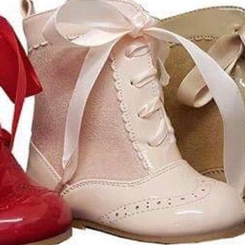 Nina Baby Pink Ribbon Lace Boots