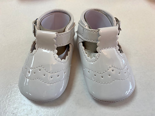 Cassy White Soft Sole T-bar Shoes